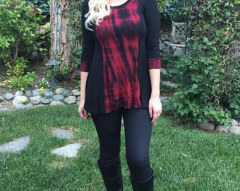 Plus Size Top, Red Top Plus Size, Red & Black Top, Woman Tops, Plus Size Tunic, Tunic Red , XS S M L XL 2X 3X, Round Neck, Patch Top