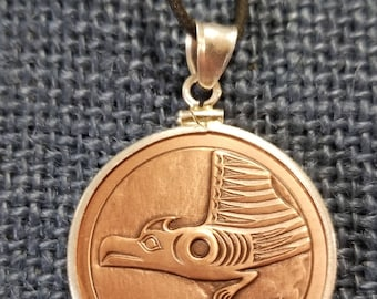 """Thunerbird Whale & Raven Wolf Copper SpindleWhorl Native inspired 1 3/16"""" medallion necklace."""