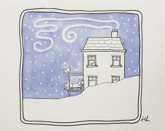 Snow Series #7 - Original watercolour and ink on paper