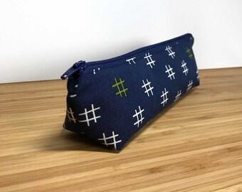 Modern Zipper Pouch, Blue Pencil Case, Boho Zipper Pouch, Blue Makeup Bag, Hashtag Zipper Pouch, Modern Pencil Case, Boho Cosmetic Bag