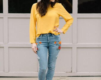 Vintage Yellow Silk Blouse | Clueless
