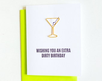 Extra Dirty Birthday Paper Clip Card. Birthday Letterpress Card