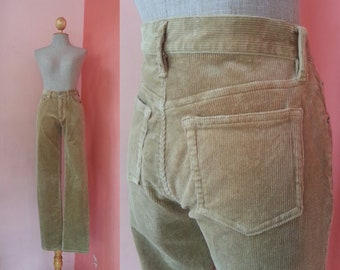 "Brown Corduroy Pants Womens Pants Vintage Pants Women Long Pants Small Pants Size 6 Waist 27"" S"