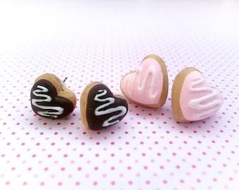 Heart Donut earrings Pink Donut jewelry Valentines earrings Chocolate Donut Studs Cute Heart earrings for Girl Love gift for Girlfriend