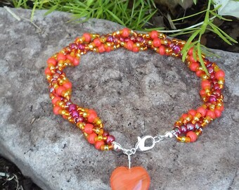 Orange Spiral Beaded Bracelet