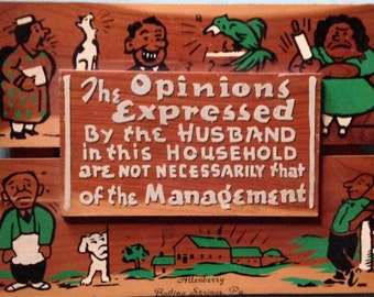 Vintage Funny Wood Sign, Hand painted Wood Plaque, Novelty Humorous Wood Sign