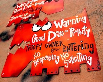 Guard Dog Signs: Metal Warning Signs, No Trespassing Sign - Small