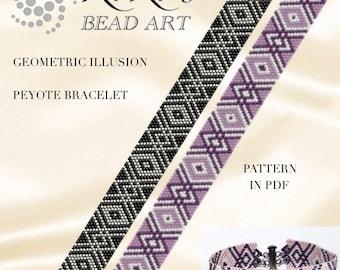 Pattern, peyote bracelet - Geometric illusion in two colour versions peyote bracelet cuff PDF pattern