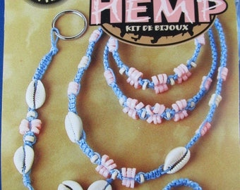 jewelry Kit, The Beadery, Kit Makes 5 Different Pieces,  hemp Unused, Vintage