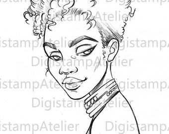 Black Girl. INSTANT DOWNLOAD Digital Digi Stamps.