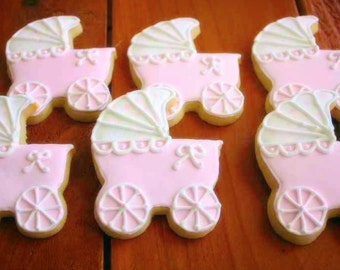 Baby Carriage Decorated Sugar Cookies