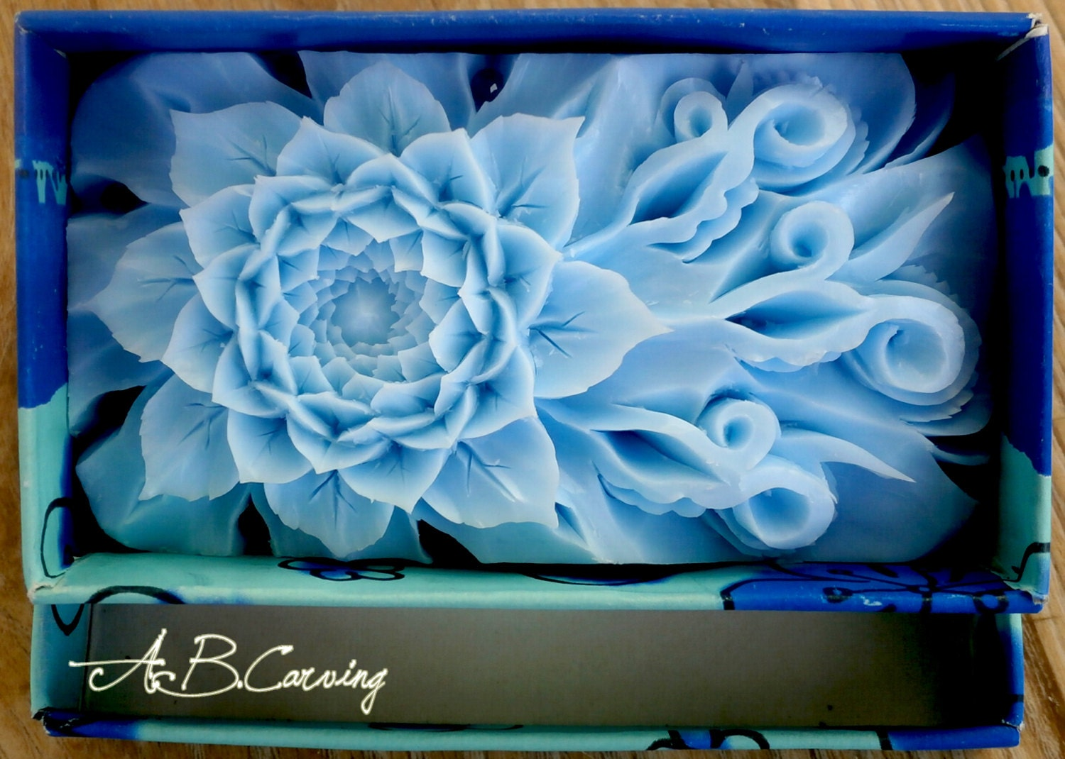 Carving Lotus soap soap carving flower blue Lotus soap