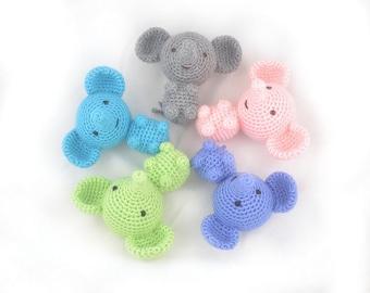 Elephant baby toy, Amigurumi mini jungle animal, crochet soft plushie.