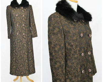 On SALE Vintage 1950's 60's Brown Black Fox Fur Collar ROSE Tapestry Evening Double Breasted Coat
