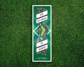 Long Bookmark   Slytherin Bookmark Use Any Means To Succeed Hogwarts Houses Bookmark Sorting Hat Quidditch Harry Potter Bookmark