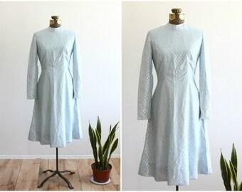 1970s Polka Dot Dress   Pastel Blue Long Sleeve Midi Dress   Embroidered Princess Dress   70s A Line Party Dress [ small - medium size 4 6 ]