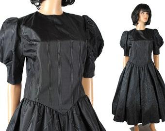 80s Prom Dress 6 M Vintage Black Sharkskin Taffeta 50s Style Gown Short Sleeve Free US Shipping