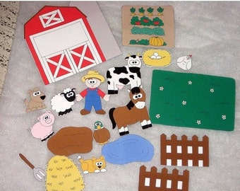 Old McDonald felt shapes set  19 pieces Educational homeschool #3889