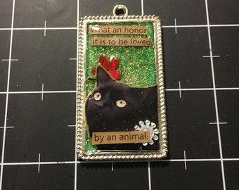 Golden Eyed Black Cat Pendant: What an honor it is to be loved by an animal. 50% goes to current animal charity