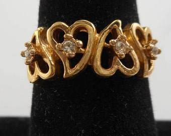 Vintage Gold Tone 18K H.G.E Heart Band Ring Size 8 , Gold Heart Ring