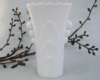 Vintage Fire King White Vitrock Deco Table Vase