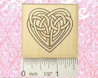 Medium Celtic Knot Heart Rubber Stamp Valentines Day Wedding Engagement #361
