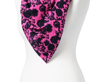 Handmade, Purple and Black Floral Square Scarf