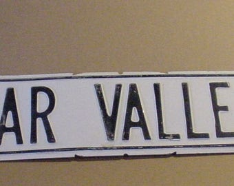 "1970's White Washed Tin Road Sign ""Poplar Vally RD""  34"" x 6"" Weathered Street Sign"