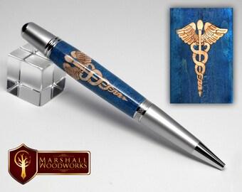 Handmade wood pen - Caduceus Symbol inlay - Handmade Pen - Physician Gift - Doctor Gift - Medical Gift - Thank you gift - Graduation Gift