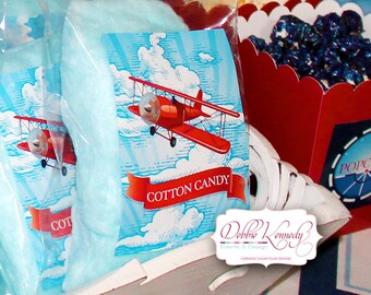 LIttle Aviator Printable Birthday Cotton Candy Tags - Red and Blue - DIY Print - Airplane Party - Instant Download