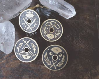 Sight - etched brass shield pins