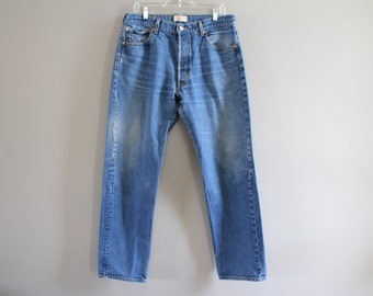 Levis 501 Waist 34 Vintage  High Waist Button Fly Straight Leg Washed Denim Mom Jeans Boyfriend Jeans 36X36 #P002A