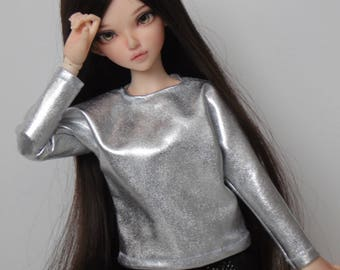 Liquid silver batwing blouse for minifee and similar slim msd dolls