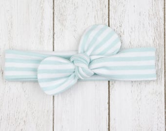 Baby headband knotted bow loop topknot mint green white striped hair accessory baby girls - Bellabuu