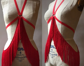 Red Fringe Waterfall Halter Harness Burlesque Ready to Ship Medium