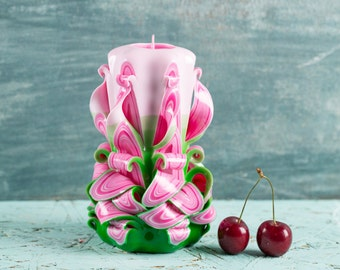 FREE SHIPPING, Pink Green White candle, Carved candles, Carved candle, Gift for her, Gift ideas, Wall decor, Gift baskets, Pink candle