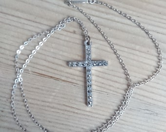 Vintage marcasite cross and chain
