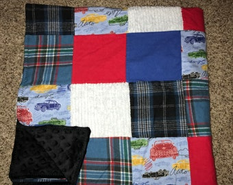 Cars baby patchwork minky blanket