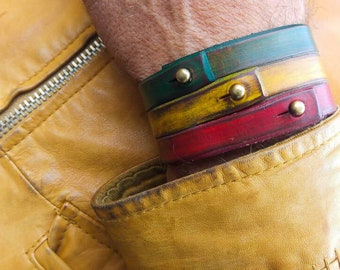 Rasta Leather Bracelet Cuff,Leather Wristband,Rastafarian Cuff,Leather Armband,Red,Yellow,Green Bracelet by Ishaor