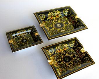 Mid Century / Black & Gold / Ashtray Set / Gold Trim / Set of 3 / Large / Versace Style / Decorative / Porcelain Ashtrays / Man Cave Decor