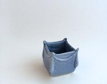 Vase in Miniature Blue Ceramic - Vintage Decor