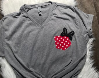 Disney-Disney shirt for women Disney family shirts Minnie pocket Tshirt Disney tshirt-Disney personalized matching family vacation shirts