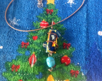 Dichroic glass with turquoise