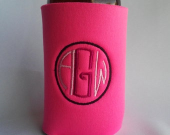 Custom Embroidered can cozie, beverage insulator, personalized, Solid  Color, monogram, can