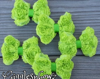 Set of 5 LiME GReEN PeTiTE Size Shabby ROSE Mesh BoWS- New Mini Size 3 inch