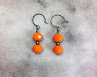 Bright Orange Earrings with brass accents lead free nickel free sensitive ears Czech glass beaded earrings