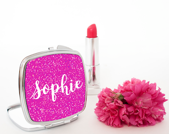 Personalised Pretty Handwritten Square Compact Mirror - Women's Accessories - Beautiful Bridesmaid Pocket Mirror - Made To Order