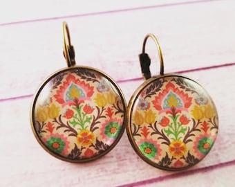 Damask earrings, Glass cabochon, cameo earrings, Damask, boho pendant earrings