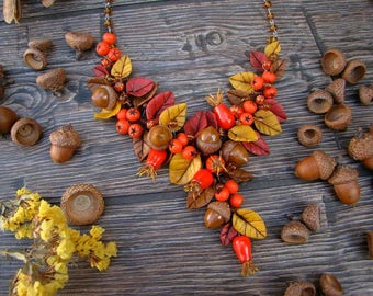 Necklace Autumn Yellow leaves Red leaves Rosehip Acorns Rowanberry Beautiful necklace