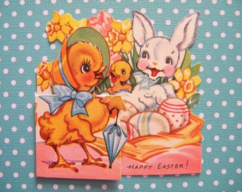 Vintage Fold Out Easter Card Bunny Rabbits and Chicks Signed